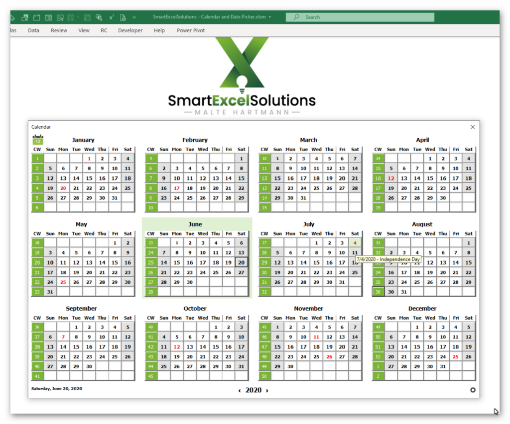 Excel Calendar Product