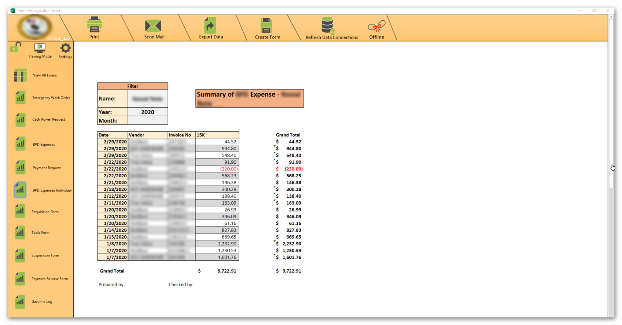 Excel Costs Report